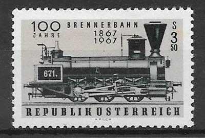 colección sellos trenes Austria 1967
