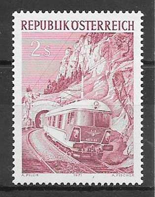 colección sellos Austria trenes 1971
