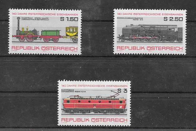 Colección sellos locomotoras antiguas 1977