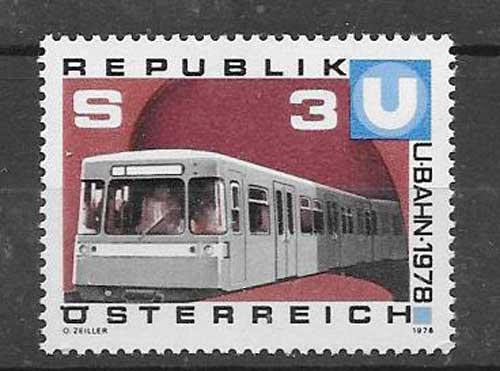 Colección sellos transporte ferroviario Austria 1978