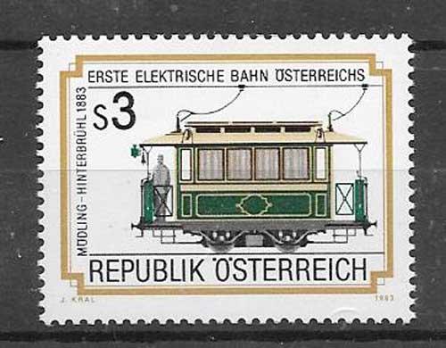 Colección sellos tranvía Austria 1983
