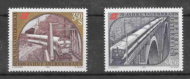 Colección sellos ferrocarriles históricos Austria 1984