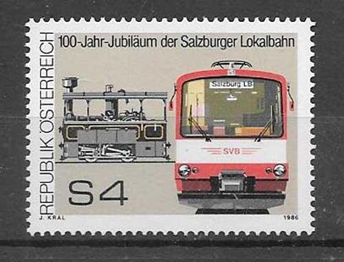 Filatelia sellos transporte ferroviario 1986