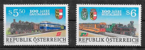 sellos trenes Austria 1994