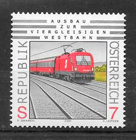 filatelia colección trenes Austria 2001