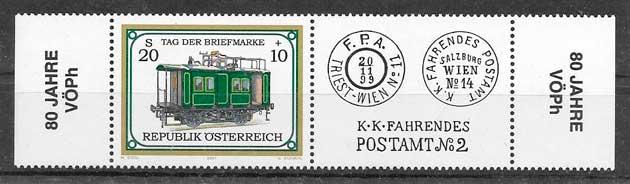 colección sellos trenes Austria 2001