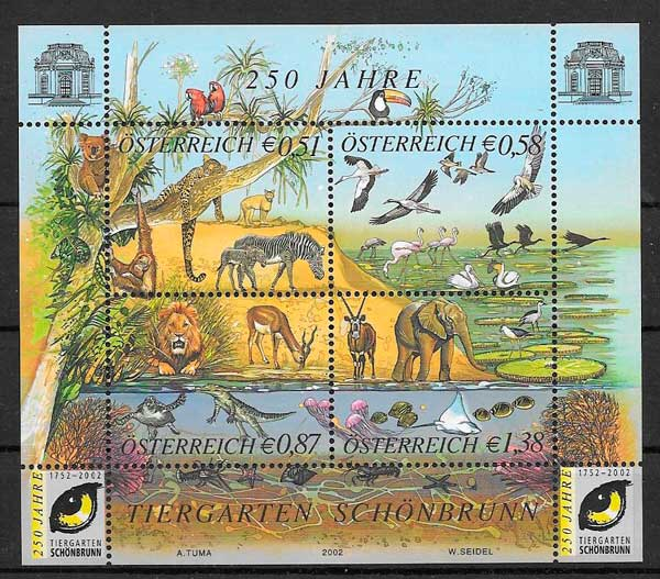 sellos colección fauna Austria 2003