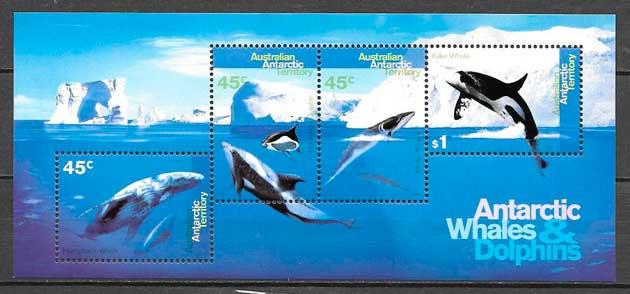 filatelia colección fauna Australia Territorio Antártico 1995