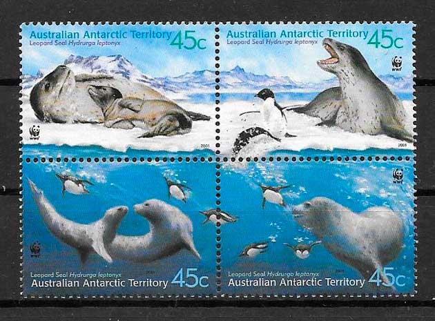 colección sellos fauna wwf Australia Territorio Antártico 2001