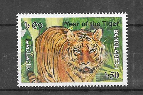 Filatelia sellos año lunar tigre Bangladesh-2010-01