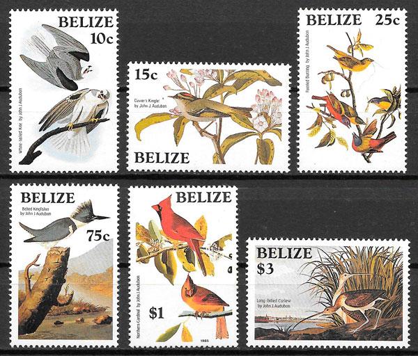filatelia colección fauna Belize 1985