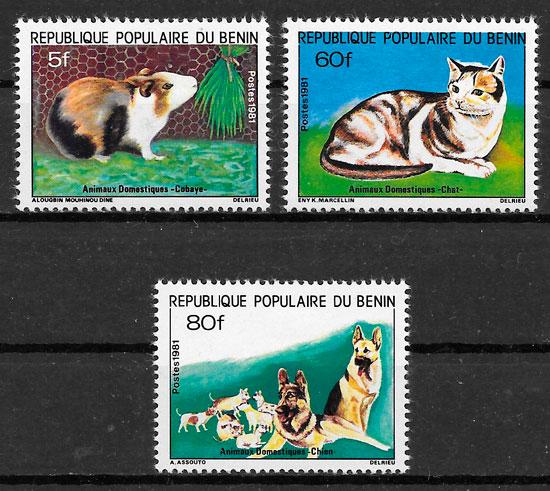 filatelia colección gatos y perros Benín 1981