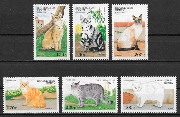 sellos gatos Benin 1998