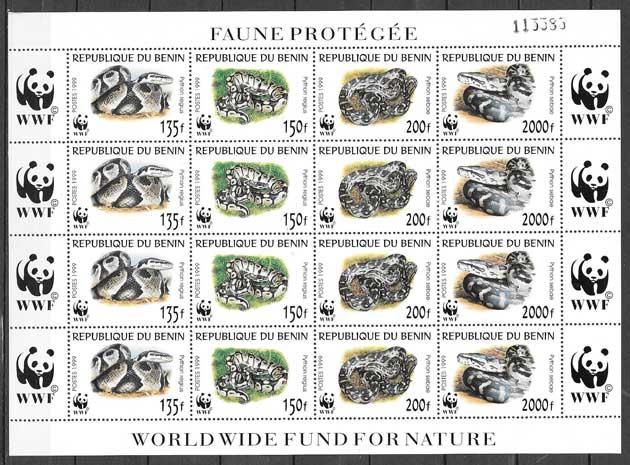 sellos fauna Benin 1999