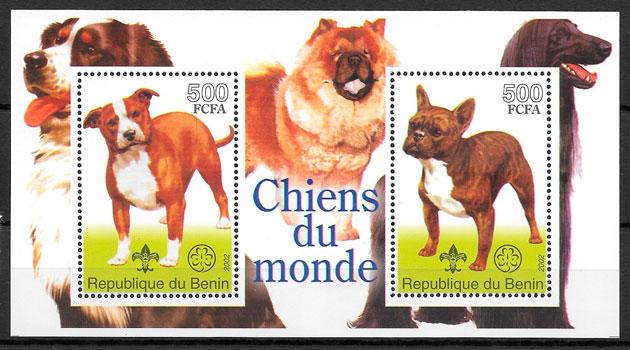 filatelia perros Benín 2002