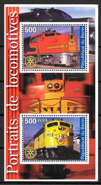 ilatelia colección trenes Benín 2002