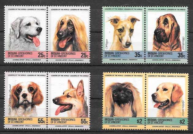 sellos gatos y perros de Bequia