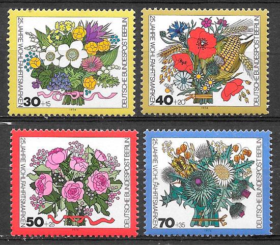 filatelia flora Alemania 1974