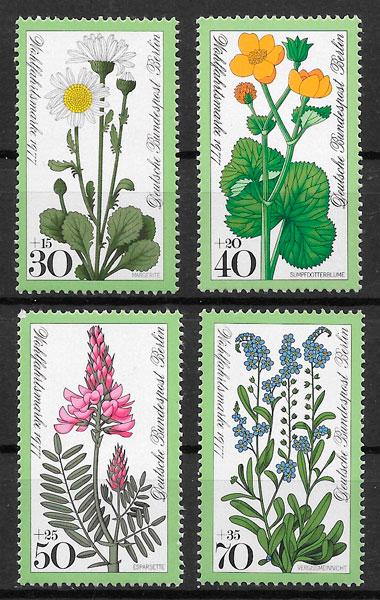 filatelia colección flores Alemania Berlin 1977