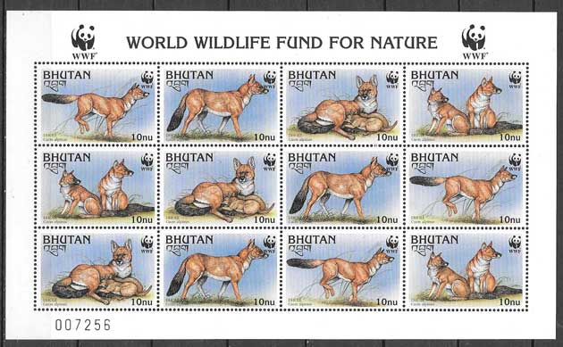 Filatelia fauna WWF Bhutan