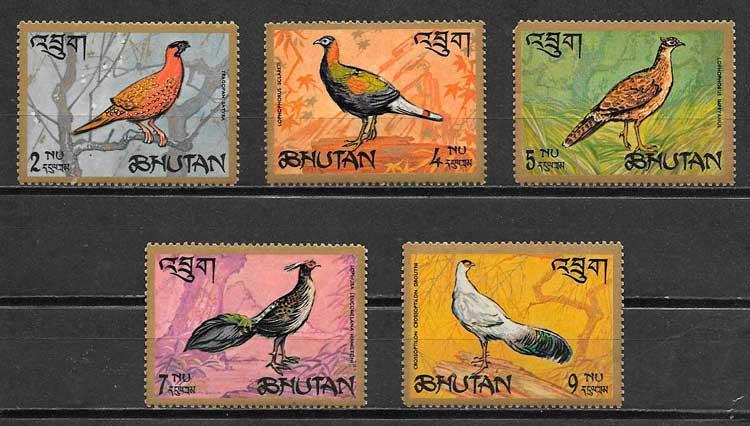 sellos fauna Bhutran 1968