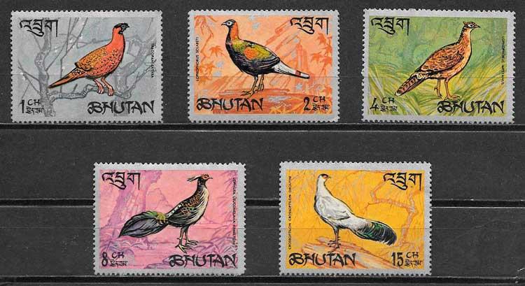 sellos fauna Bhutan 1968