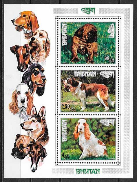 sellos gatos y perros Bhutan 1972