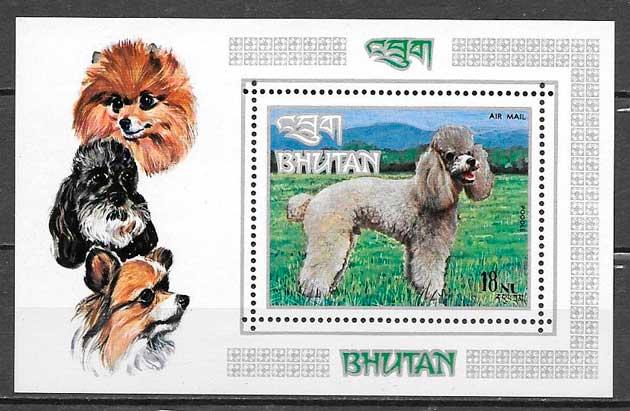sellos gatos y perros Bhutan 1973