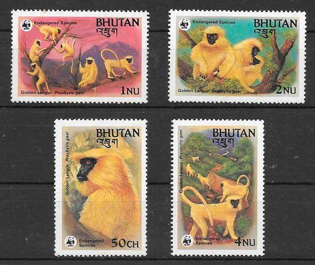 colección sellos fauna wwf Bhutan 1984
