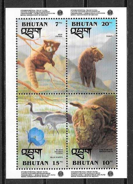 sellos fauna Bhutan 1993