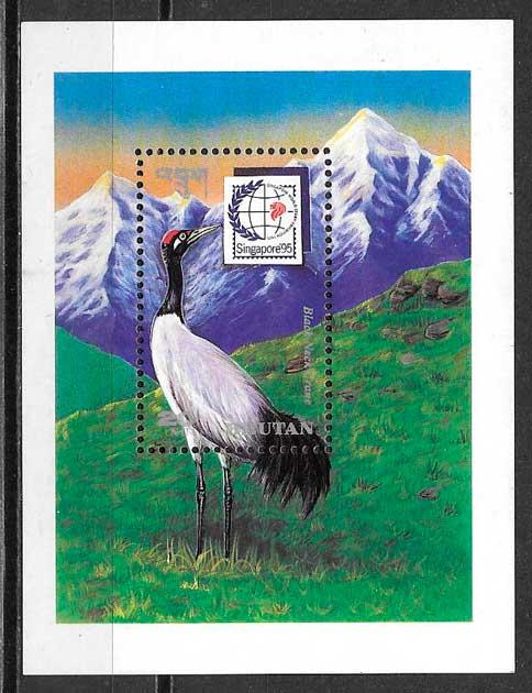 colección sellos fauna Bhutan 1995