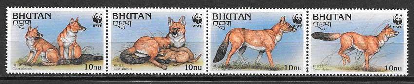 filatelia colección fauna wwf Bhutan 1997