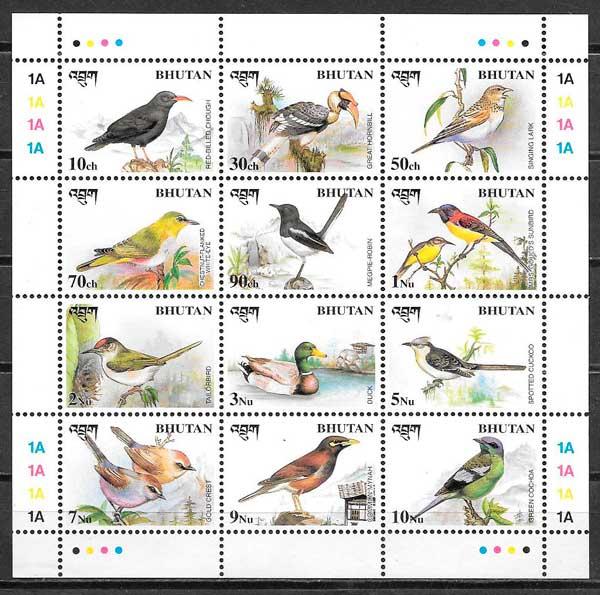filatelia colección fauna Bhutan 1998