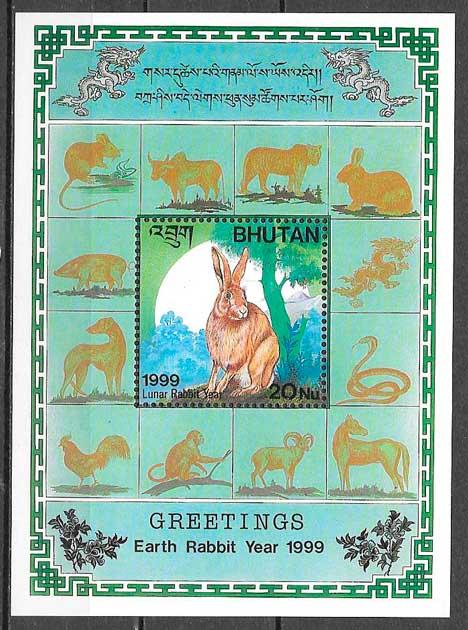 filatelia colección año lunar Bhutan 1999