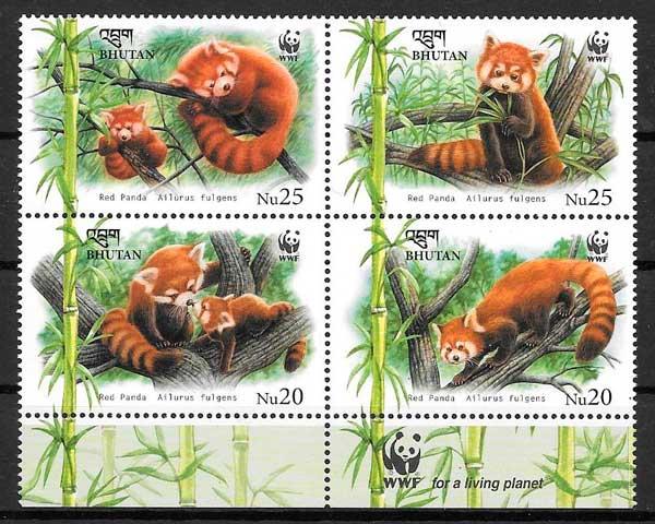 colección sellos fauna wwf Bhutan 2009