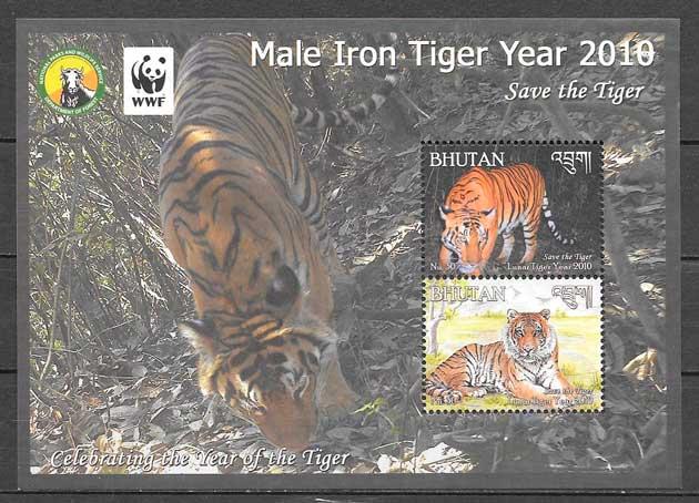 colección sellos fauna wwf Bhutan 2010