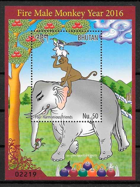 sellos año lunar Bhutan 2016