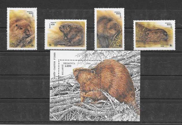 Colección sellos serie de fauna protegida