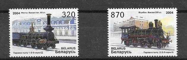 Filatelia sellos locomotoras de Bielorrusia