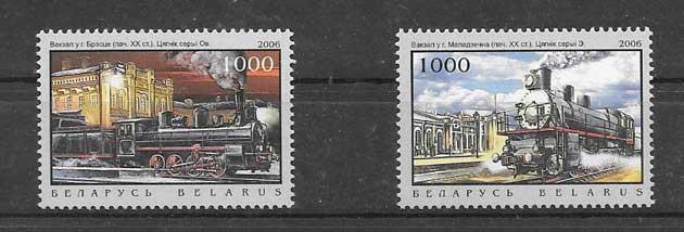 sellos filatelia locomotoras y estaciones