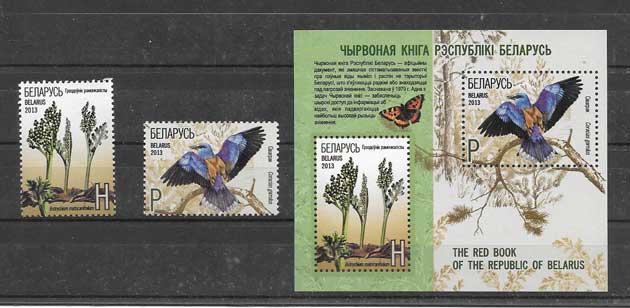 Colección sellos serie y hojita de fauna y flora