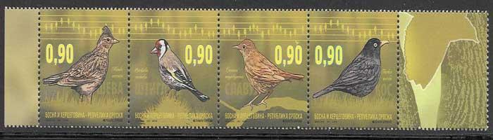 sellos filatelia fauna 2015 Bosnia - Hercegobina - Serbia