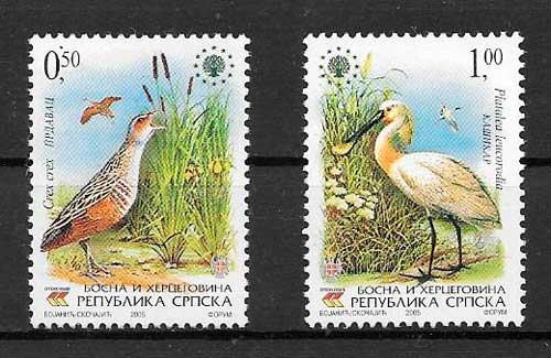 filatelia fauna Bisnia Herzegovina Rep. Serbia 2005