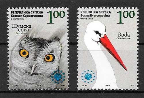 filatelia colección fauna Bosnia Herzegovina Rep Serbia 2008