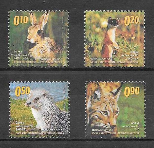 filatelia colección fauna Bosnia Herzegovina Rep Serbia 2011