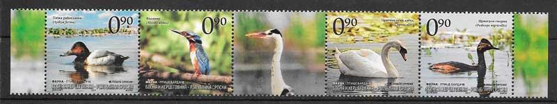 colección sellos fauna Bosnia Herzegovina Rep Serbia 2011