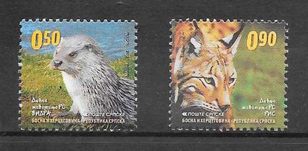 colección sellos fauna Bosnia Herzegovina Rep. Serbia 2012