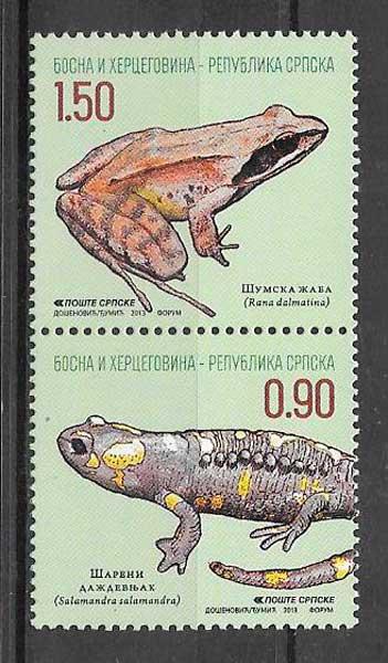 colección sellos fauna Bosnia Herzegovina Rep. Serbia 2013