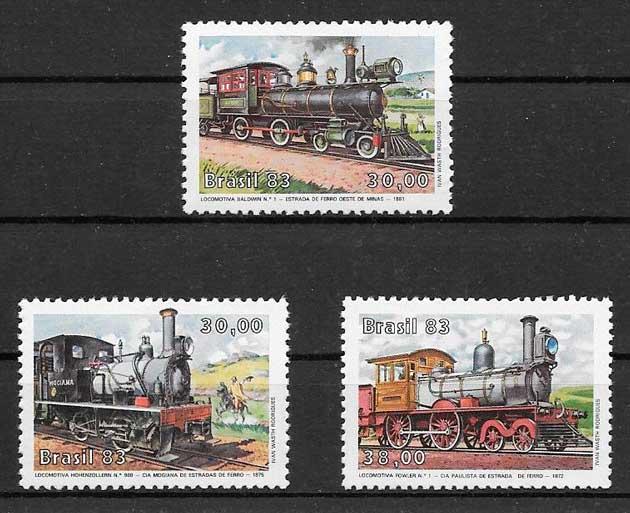 filatelia colección trenes Brasil 1983