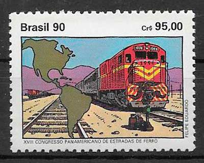 sellos trenes Brasil 1990
